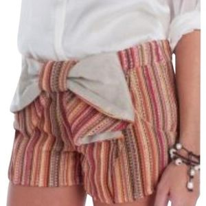 Judith March Striped Crochet Bow Shorts Small